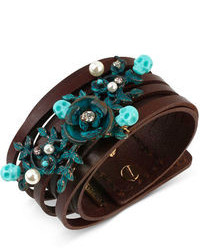 Betsey Johnson Patina Flower Multi Row Leather Bracelet