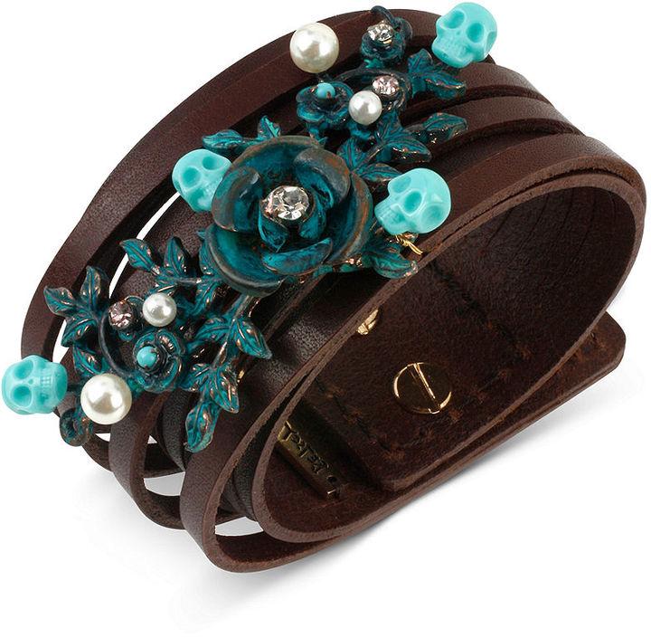 Betsey Johnson Patina Flower Multi Row Leather Bracelet