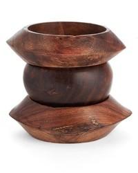 Set of 3 stackable wood bangles cuff medium 827846