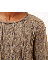 River Island Brown Brushed Cable Knit Sweater