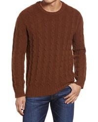 Nn07 Fabian Cable Knit Wool Crewneck Sweater