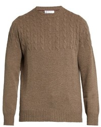 Brunello Cucinelli Half Cable Knit Wool And Cashmere Blend Sweater