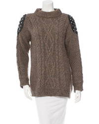 Leather trim studded sweater medium 399660
