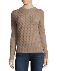 Neiman Marcus Open Stitch Cable Knit Pullover Sweater Toasty Taupe