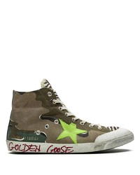 Brown Camouflage Canvas High Top Sneakers