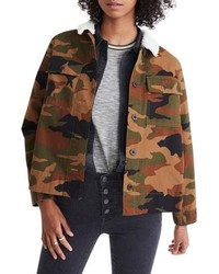 Madewell Northward Camo Army Jacket With Faux Shearling Collar
