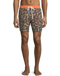 Michael Bastian Michl Bastian Camouflage Print Swim Trunks