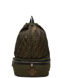 Fendi Khaki And Gold Forever Convertible Backpack