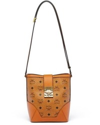 MCM Mini Patricia Visetos Canvas Bucket Bag Brown