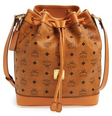 Mcm Heritage Coated Canvas Drawstring Crossbody Bag Brown