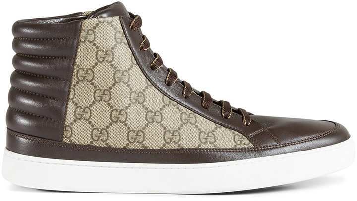 2bfacca4780 ... Brown Canvas High Top Sneakers Gucci Gg Supreme High Top Sneaker ...