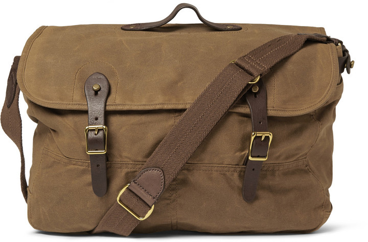 J Crew Abingdon Waxed Cotton Canvas And Leather Messenger Bag