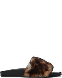 Vetements Brown Black Shearling Leopard Slides
