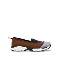 Marni Brown Neoprene Slip On Sneakers