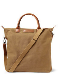 Ohare leather trimmed organic cotton canvas tote bag medium 101052