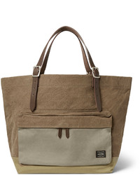 Porter Yoshida Co Leather Trimmed Canvas Tote Bag