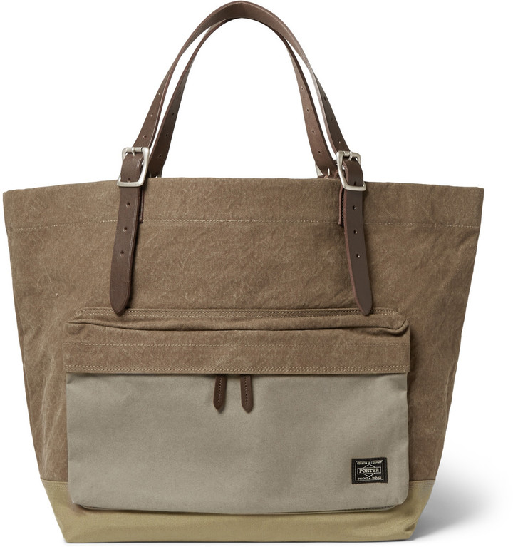 Porter Yoshida Co Leather Trimmed Canvas Tote Bag | Where to buy ...