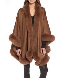 Sofia Cashmere Genuine Fox Cashmere Cape