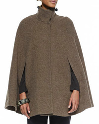 Eileen Fisher High Collar Tweed Cape Slim Jersey Tee Slim Pants