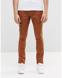Asos Brand Super Skinny Cargo Pants With Zip In Brown