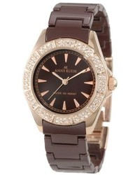Anne Klein 109682rgbn Brown Ceramic Bracelet Rosegold Tone Watch