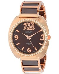 August Steiner As8066br Swiss Quartz Diamond Crystal Rose Tone Brown Ceramic Bracelet Watch