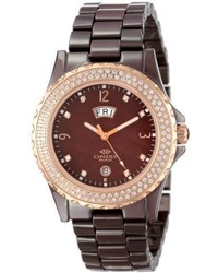 Oniss Paris On6200 Lrg Brw Bello Princess Collection Ladies All Ceramic Ss Bezel With 116 Round Crystals Rose Tone Daydate Swiss Parts Movet Rose Tone Brown Watch