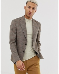 ASOS DESIGN Casual Fit Slim Blazer In Brown Check