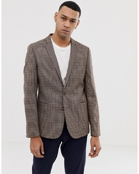 ASOS DESIGN Skinny Blazer In Brown Micro Check