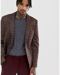 ASOS DESIGN Skinny Blazer In Grey Red And Gold Sparkle Check
