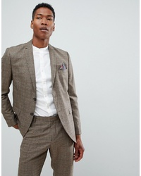 Selected Homme Slim Fit Suit Jacket In Brown Check