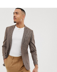 ASOS DESIGN Tall Skinny Blazer In Brown Micro Check