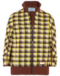 Prada Checked Jacquard Knit Bomber Jacket Brown