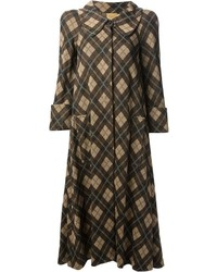 Biba vintage argyle check coat medium 842843
