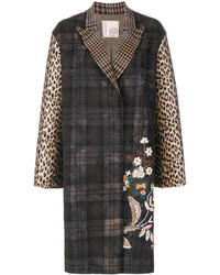Floral embroidery checked coat medium 5275934