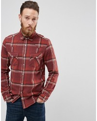 Brown Check Flannel Long Sleeve Shirt