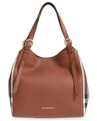 Canterbury house check leather tote brown medium 518161