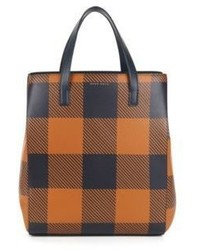 Checked leather tote soft tote v one size brown medium 6834066