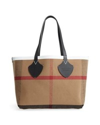 Burberry Medium Reversible Leather Check Canvas Tote
