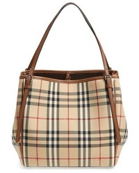 Burberry Small Canter Horseferry Check Leather Tote Brown