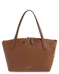 Burberry Welburn Check Leather Tote Brown
