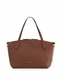 Welburn medium leather check tote bag tan medium 1020821