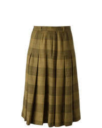 Brown Check Midi Skirt