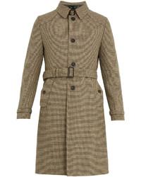 Prada Single Breasted Micro Checked Wool Overcoat