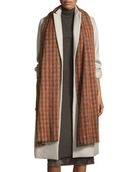 Brunello Cucinelli Long Check Alpaca Wool Scarf Rosewood