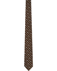 Fendi Brown Beige Silk Forever Tie