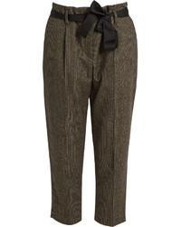 Brown Check Tapered Pants