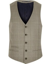 River Island Brown Check Wool Blend Slim Vest