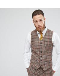 Heart Dagger Harris Tweed Skinny Vest In Check
