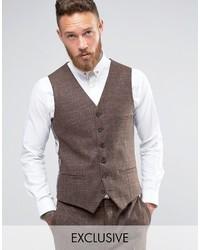Heart Dagger Skinny Vest In Tonal Check